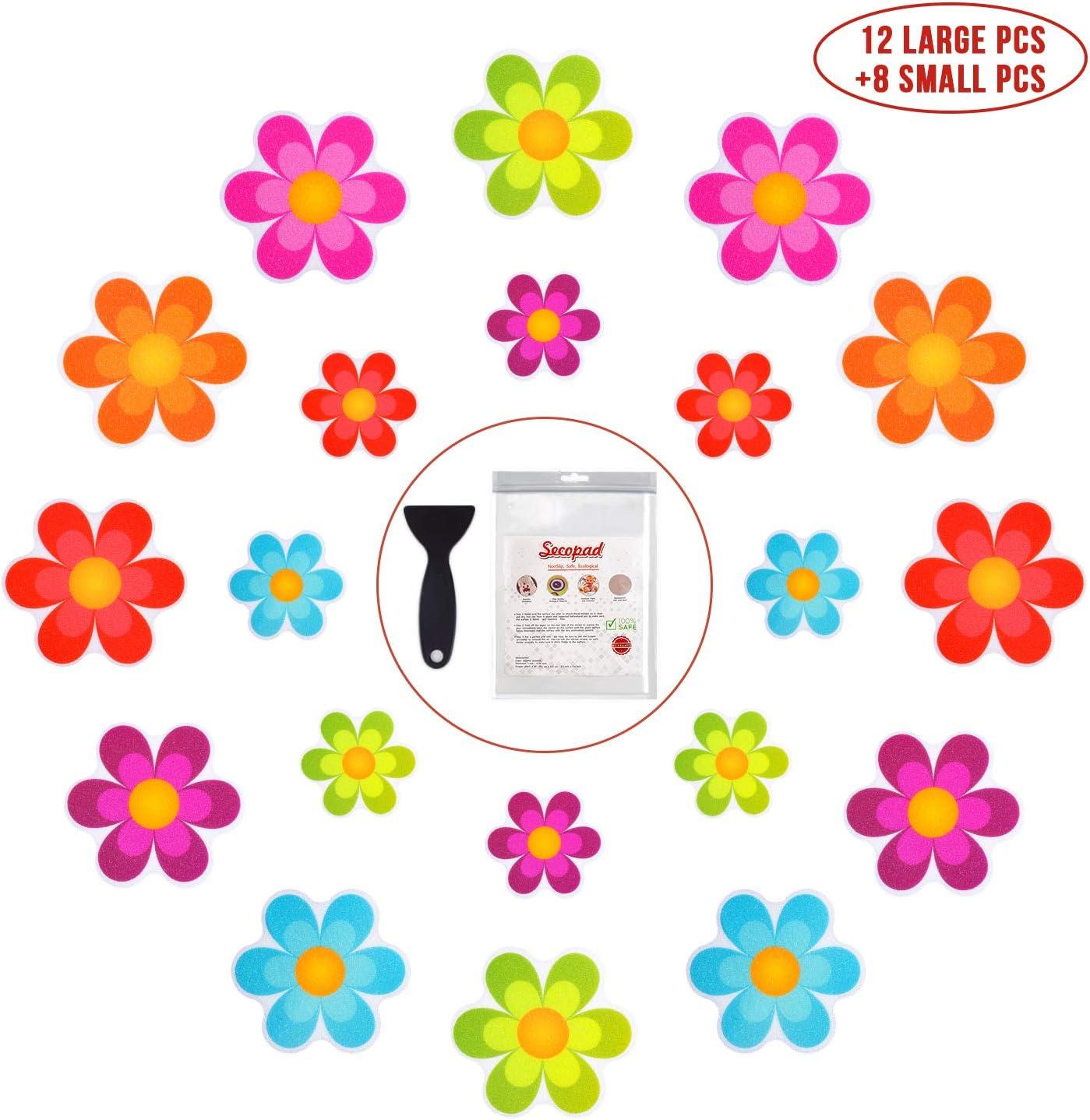 Non-Slip Applique Mat Stickers Bath Tub Shower Bathroom Stairway Safety Flower