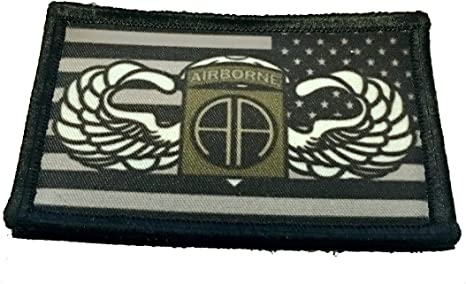 Jump Wings 82nd Airborne/Subdued USA bandera Morale Patch táctico militar 2 x 3 ganchos de