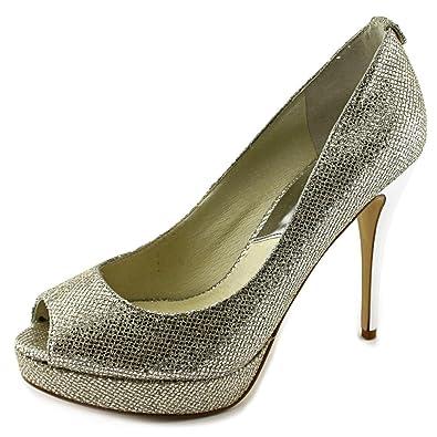 4bece436eb47 Michael Michael Kors Women s York Platform Silver Glitter 9 M ...
