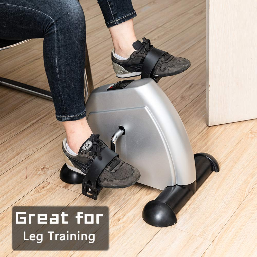 SSLine Mini Exercise Bike Portable Stationary Pedal Exerciser Foot Cycle Arm & Leg Peddler Machine with LCD Screen Compact Small Under Desk Fitness Feet Bike Sit-Down Recumbent Recovery Equipment