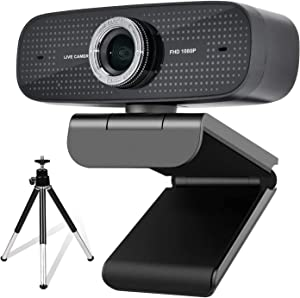 Spedal Webcam with Tripod, 1080P HD Live Streaming Camera with Microphones, USB Computer Web Cam for Desktop/Laptop/Mac, Plug & Play Webcam for Video Calling, Recording, Conferencing, Streaming