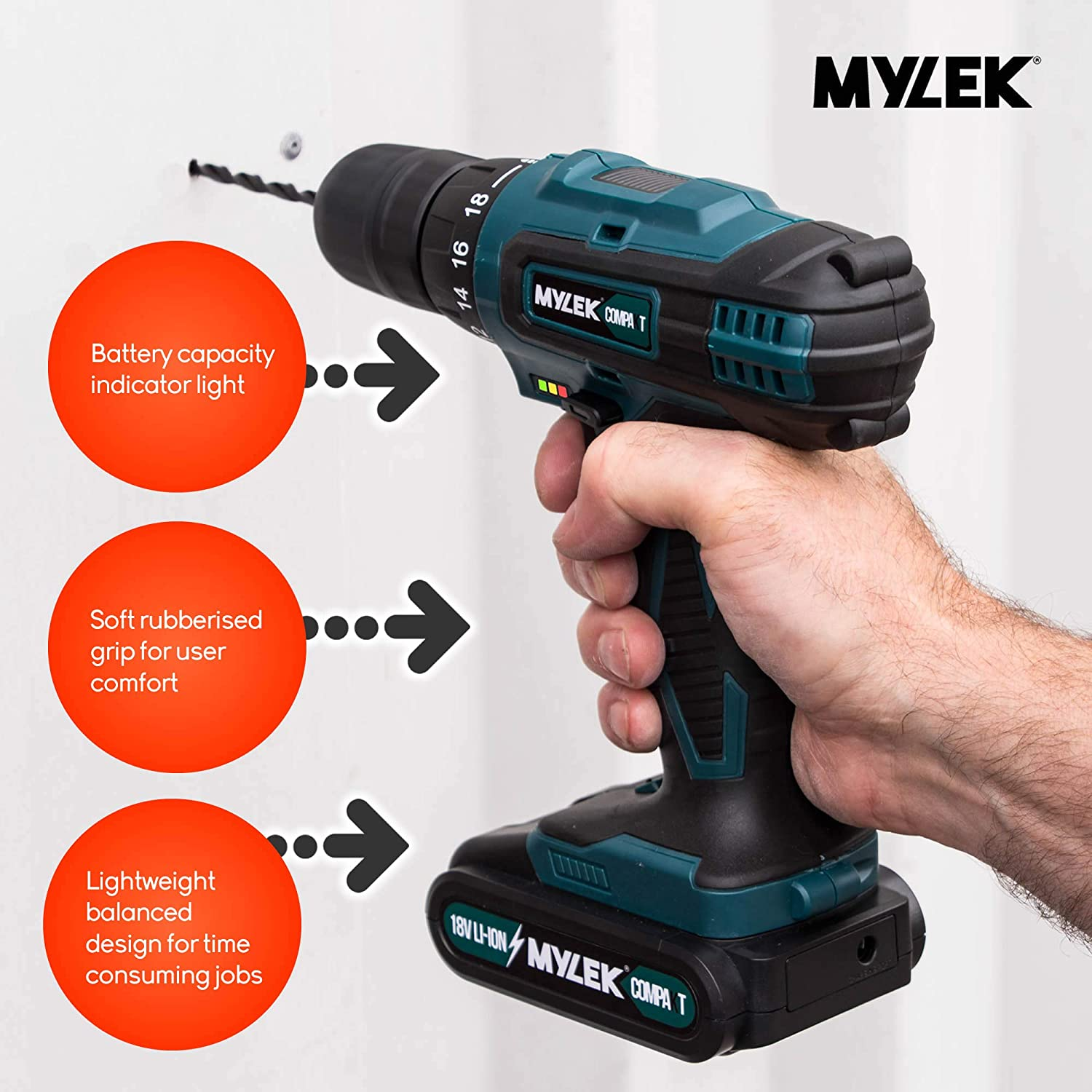 MYLEK MY2706 VCB 18V Cordless Driver-Lithium Ion Drill Set-13 Piece Combi  Accessory Kit-LED Worklight, 18 V