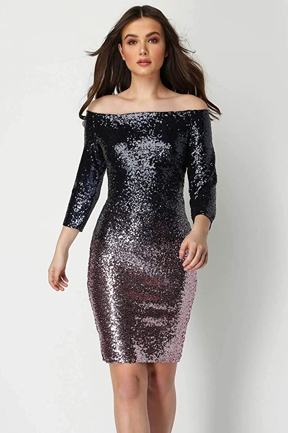 6c422ca28e920 Roman Originals Women s Bardot Ombre Sequin 3 4 Length Sleeve Dress - Ladies  Fashion Dresses for Formal Fancy Evening Christmas New Year Occasions  Sequins ...