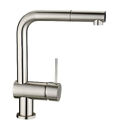 Grünblatt - Grifo monomando para fregadero (niquelado pulido, ducha extraíble, para calentador de