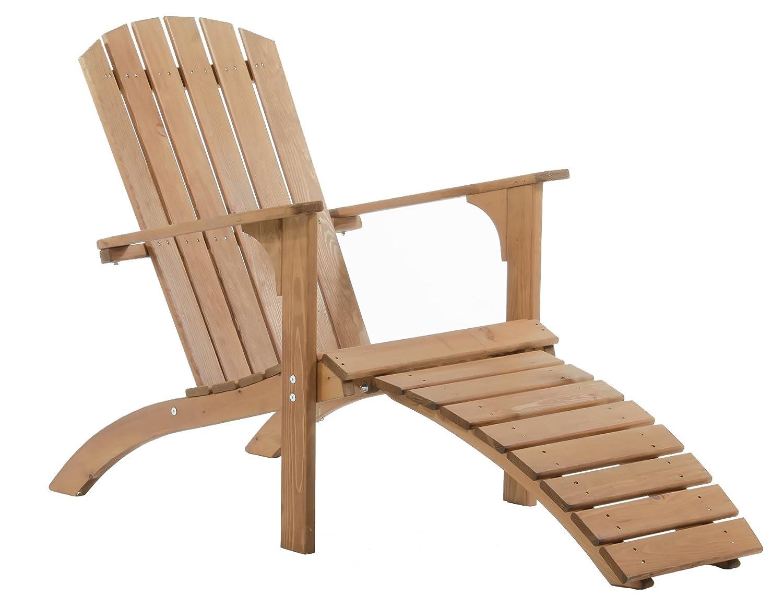 Ambiente Casa Sedia Adirondack Sedia a sdraio lettino parte solida del piede FALUN, marrone incl legno. Ambientehome 90082