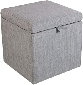QQXX -Ottomans Home Furniture Ottoman Footstools Storage Box Stool?Pouffe Storage Single Seater Bench?Square Linen Fabric Upholstered Footstool Bedside Stool (Color : Light Grey)