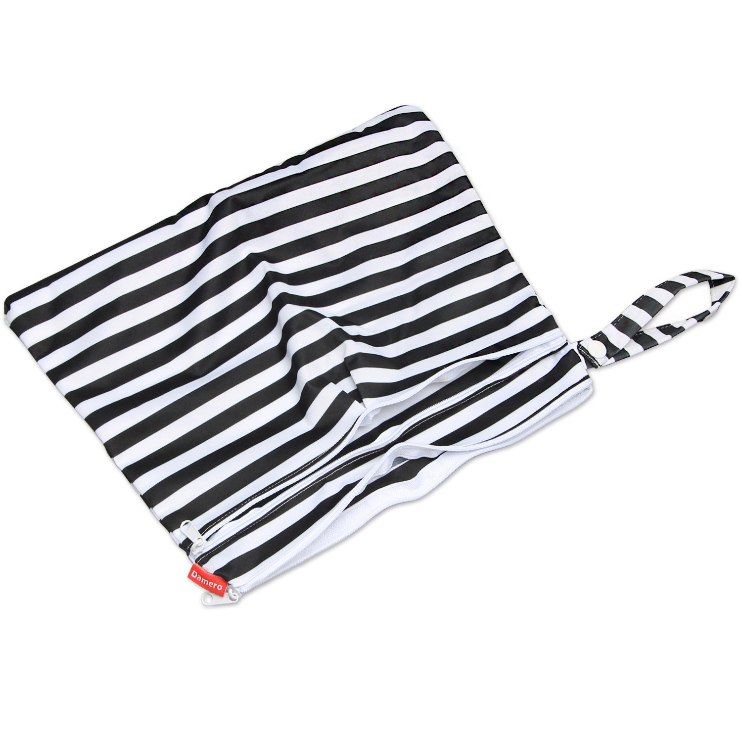 Travel Diaper Organiser Bag with Handle Dirty Clothes and More Damero Baby Wet and Dry Cloth Diaper Bag Double Zipper Compartments for Babys Nappies Small, Black Strips