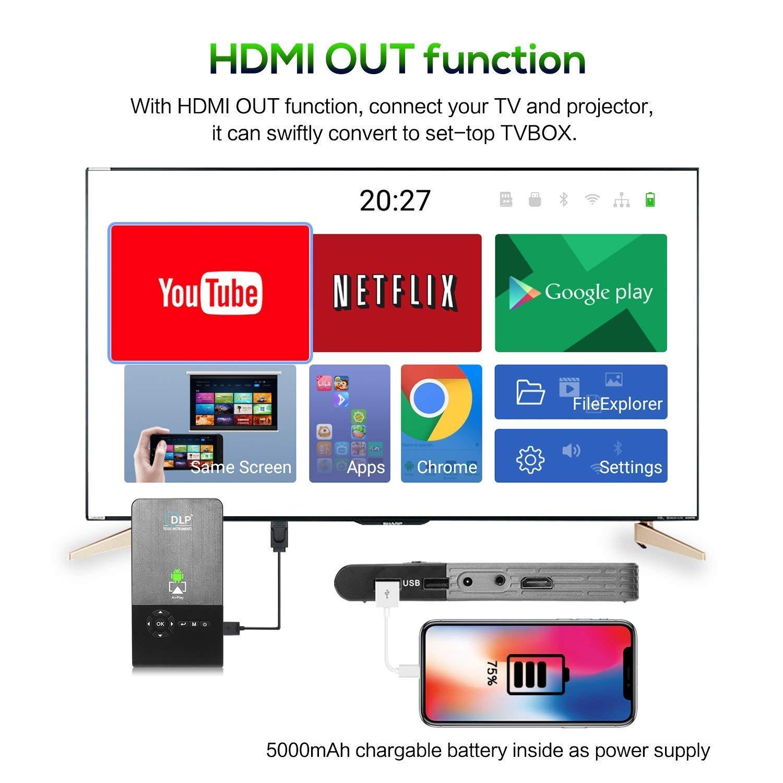 OTHA Mini Proyector Portátil, Pico DLP LED 1080P Full HD Video Proyectores Teatro Casero, con Autocorrecion Trapezoidal, WiFi y Bluetooth ...