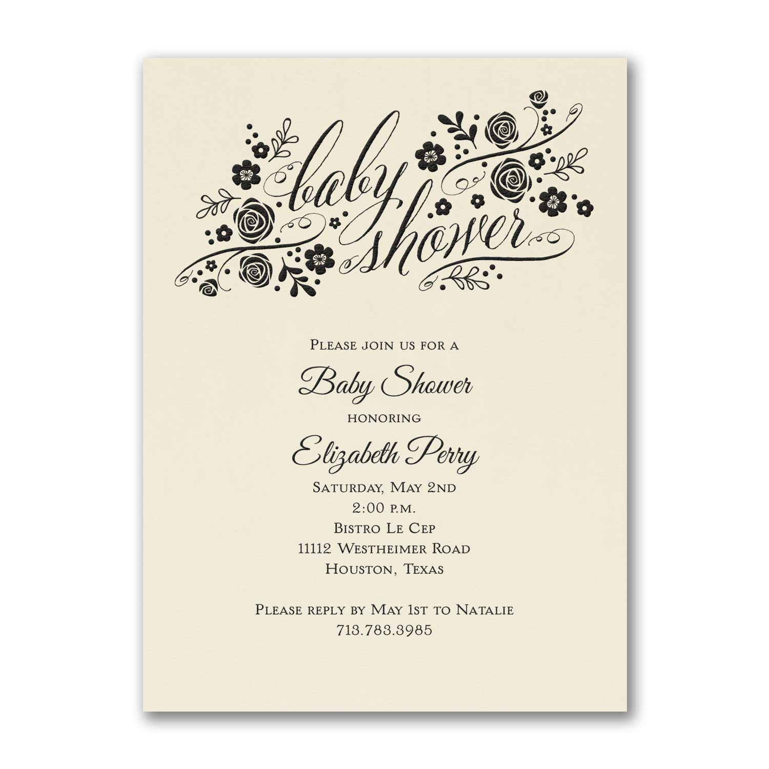 1000pk Little Rosebuds - Baby Shower Invitation - Ecru-Baby Shower Invitations