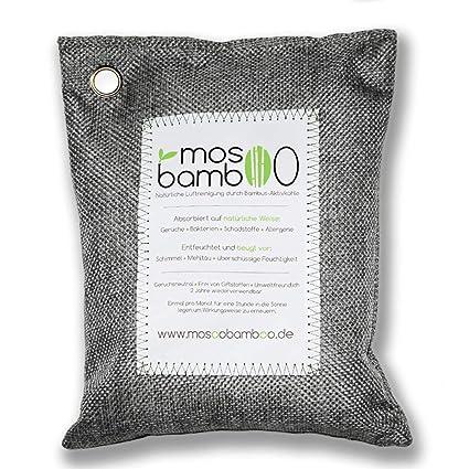 mosoobamboo Lufterfrischer cleanAir - 250g, grau aus Bambus Aktivkohle | Natürlicher Geruchsentferner & Luftentfeuchter für A