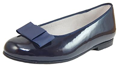 7ba8bed84 Image Unavailable. Image not available for. Color: De Osu Girls Navy Patent  Leather Tuxedo Bow Ballet Flats ...