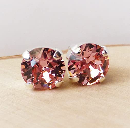 b2a7d5ef0 Image Unavailable. Image not available for. Color: Swarovski Blush Light  Rose Pink Crystal Stud Earrings ...