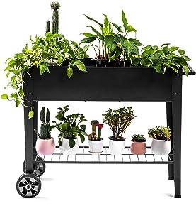 "Zizin Raised Garden Planter Box with Legs Outdoor Metal Elevated Garden Bed On Wheels Apartment Vegetables Herb Kit,40""×15"" Black"