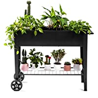 Zizin Raised Garden Planter Box with Legs Outdoor Metal Elevated Garden Bed On Wheels Apartment Vegetables Herb Kit,40