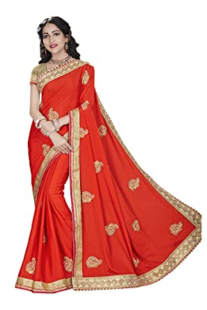 407e0e88290 Amazon.com  Indian Fashion Indian Women Saree Designer Party wear Wedding  orange Color Sari K-55  Clothing