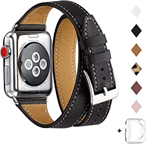 Bestig Band Compatible for Apple Watch 38mm 40mm 42mm 44mm, Genuine Leather Double Tour Designed Slim Replacement iwatch Strap for iWatch Series 5/4/3/2/1 (Black Band+Silver Adapter, 38mm 40mm)