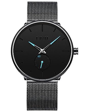 d3c0679c2cf CIVO Mens Watches Black Ultra Thin Minimalist Stainless Steel Watch for Men  Fashion Waterproof Luxury Gents