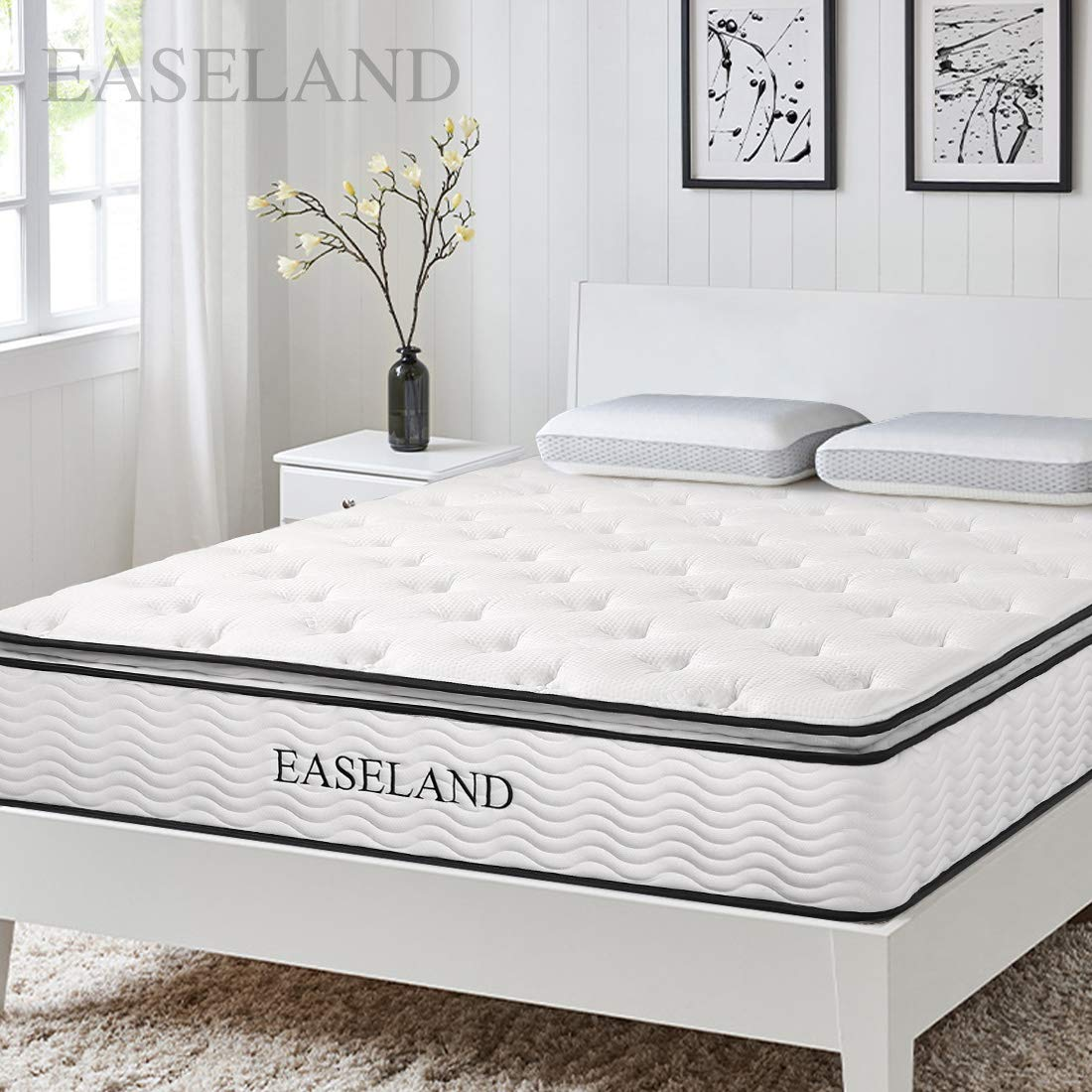 EASELAND King Mattress - Skin-Friendly Bamboo Pillow Top and Innerspring Hybrid 12'' Mattress - Individually Encased Pocket Coils - 10-Year Warranty by EASELAND