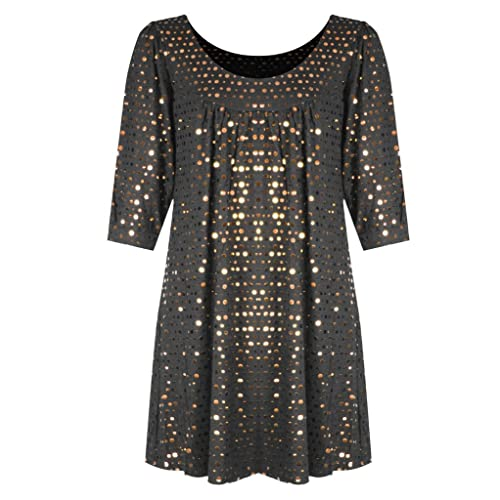H&F Girl Womens Ladies Scoop Round Neck 3/4 Sleeve Plain Sparkling Glitter Shiny Sequins