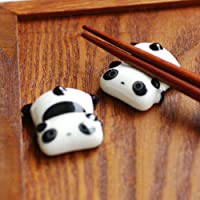 Fivtyily 2 PCS Lovely Cartoon Calligraphy and Sumi Brush Rest Ceramics Paperweight (Panda Shape)