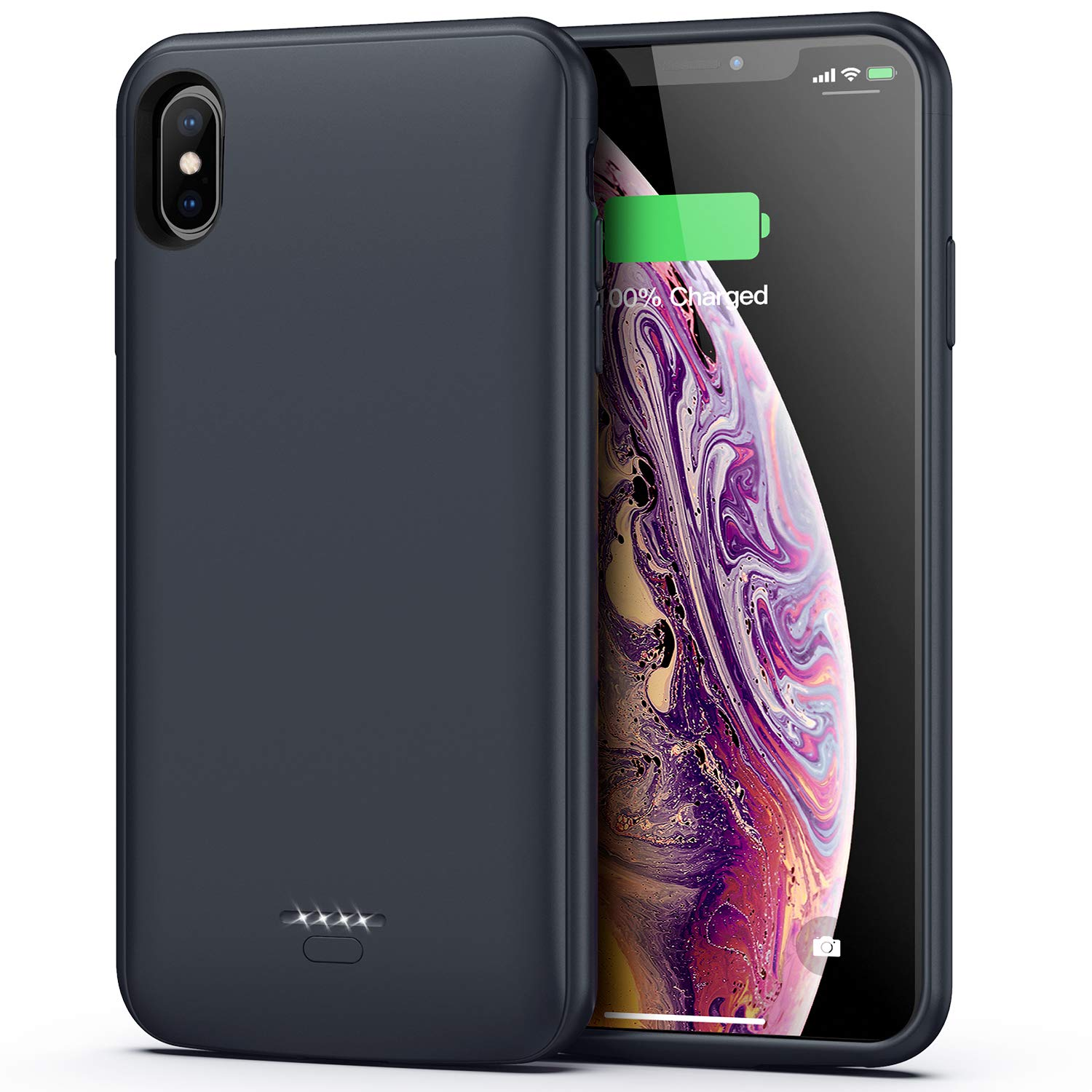 Battery Case for iPhone Xs Max, 5000mAh Portable Protective Charging Case Compatible with iPhone Xs Max (6.5 inch) Rechargeable Extended Battery Charger Case (Grey)