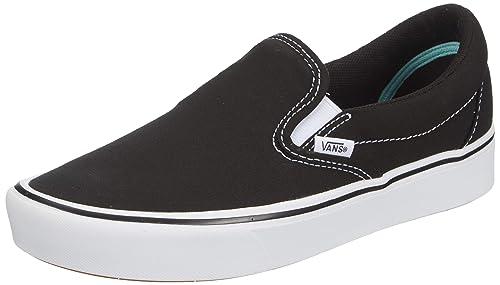 womens black and white slip on vans