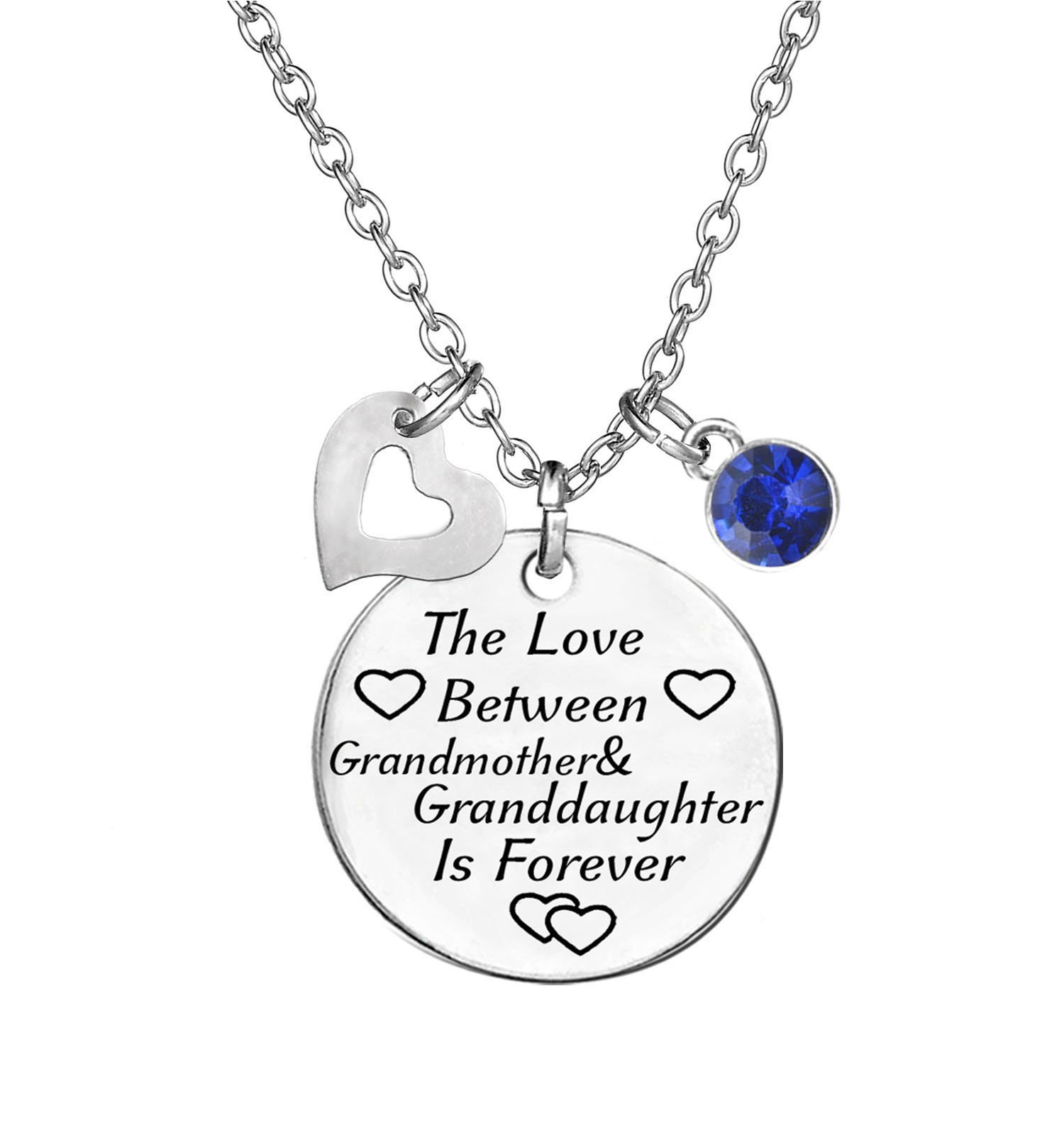 TISDA Birthstone Crystals Necklace,The Love between Grandmother and Granddaughter is Forever Necklace Family Jewelry Christmas Gift (September)