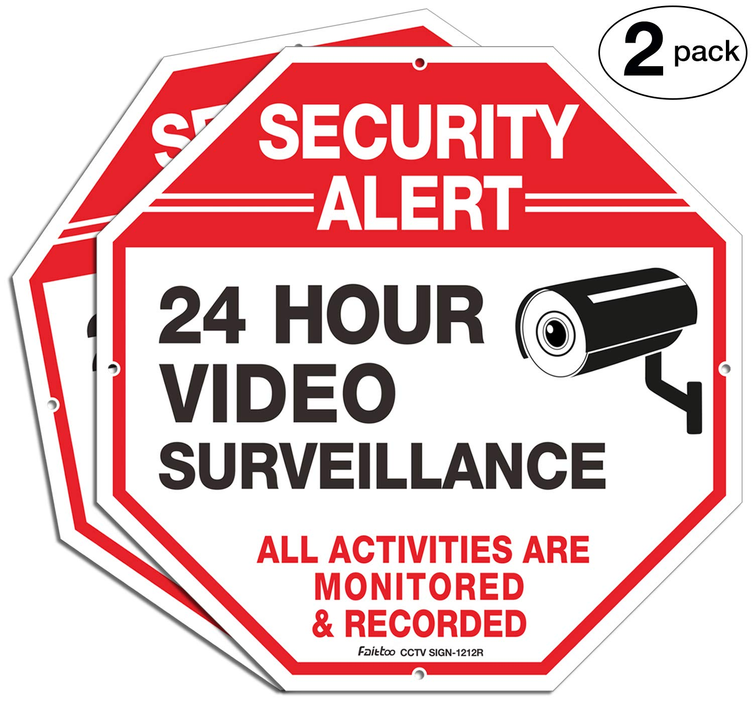 Video Surveillance Signs (2 Pack) 12 x 12 Rust Free .040 Aluminum Security Warning Reflective Metal Signs, Indoor or Outdoor Use for Home Business CCTV Security Camera, UV Protected & Waterproof
