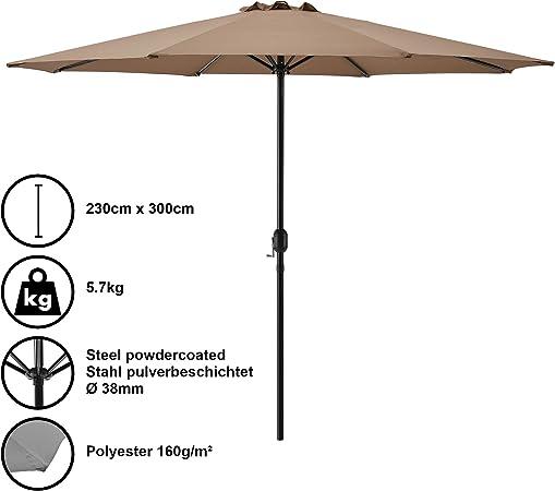 casa.pro] Sombrilla Ø 300cm [Beige] con manivela Parasol para jardín, terraza, balcón Patio: Amazon.es: Hogar