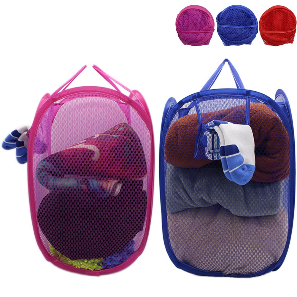 Mesh Pop-Up Set of 2 Laundry Hamper with Side Pocket and Handles -Clothes Hamper Perfect for Kids (Blue and Red/Rose Red)