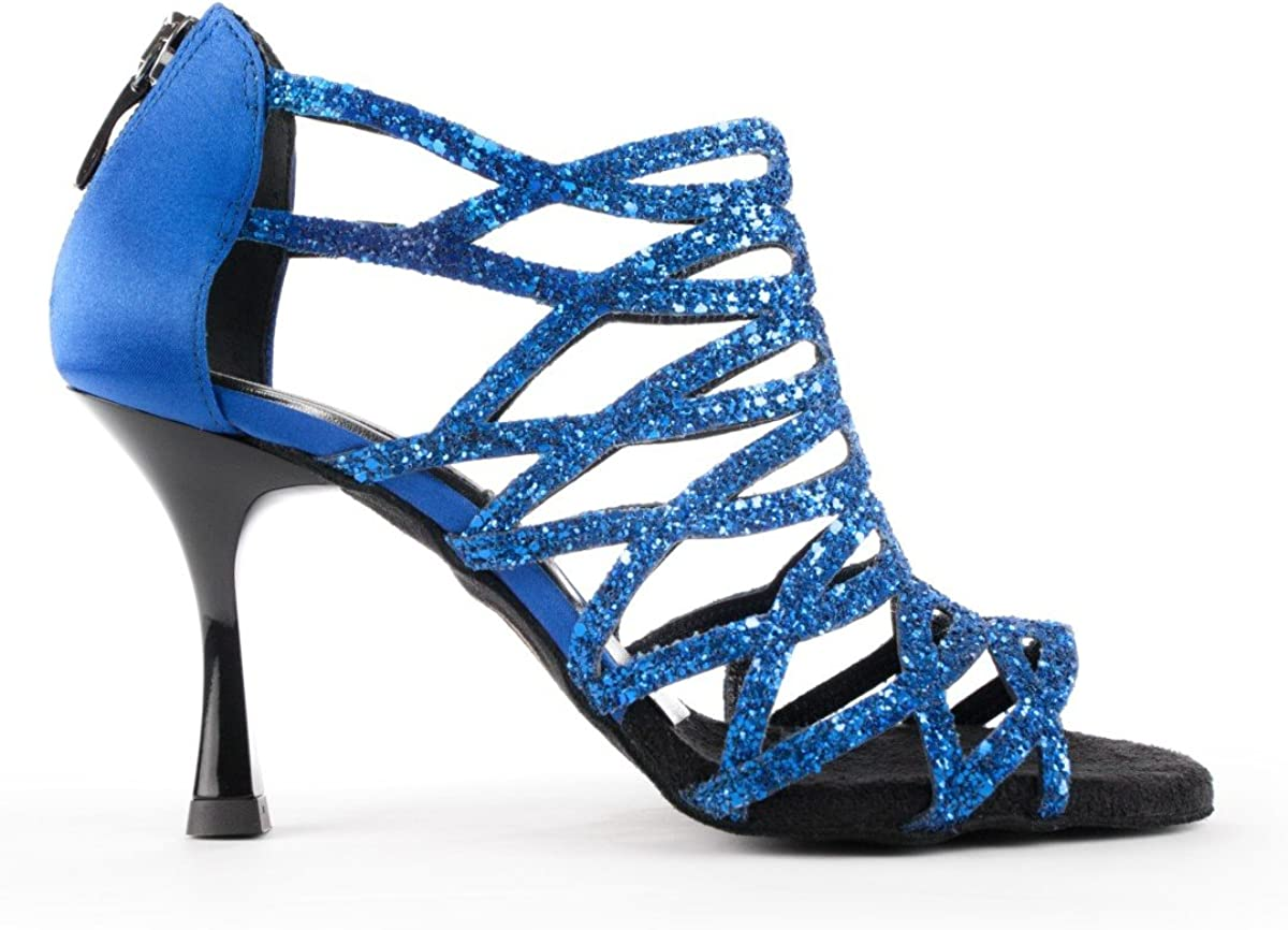 PortDance Ladies Dance Shoes//Bridal Shoes PD803 Pro Satin//Glitter Blue Small EUR 38 7 cm Flare