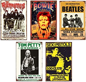 YOMIA Metal Signs for Garage Man Cave Tin Signs Classic Rock Decor for Pub Bar Vintage Wall Stickers - Band Tin Signs 5PCS 20X30Cm