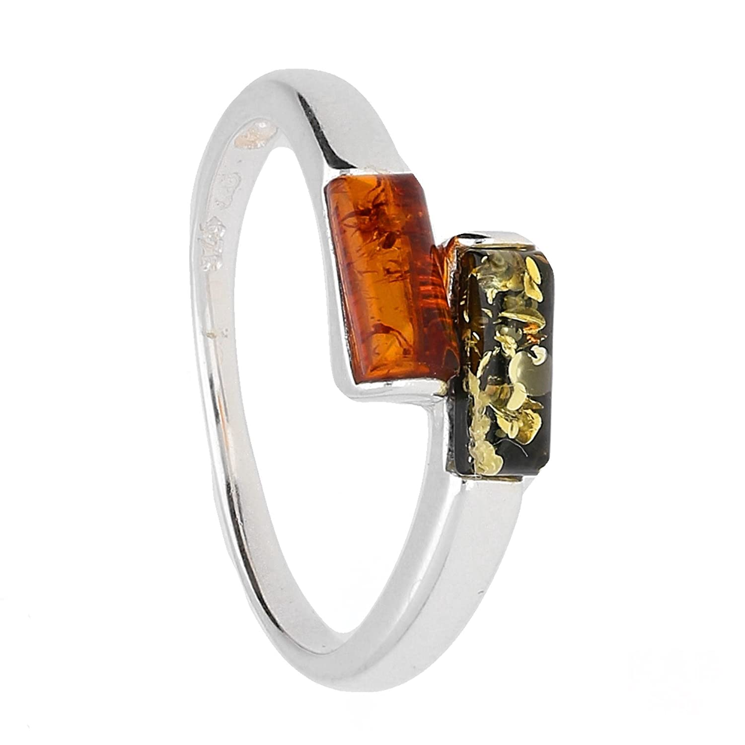12*6 mm Cognac Baltic Amber /& 925 Sterling Silver Ring