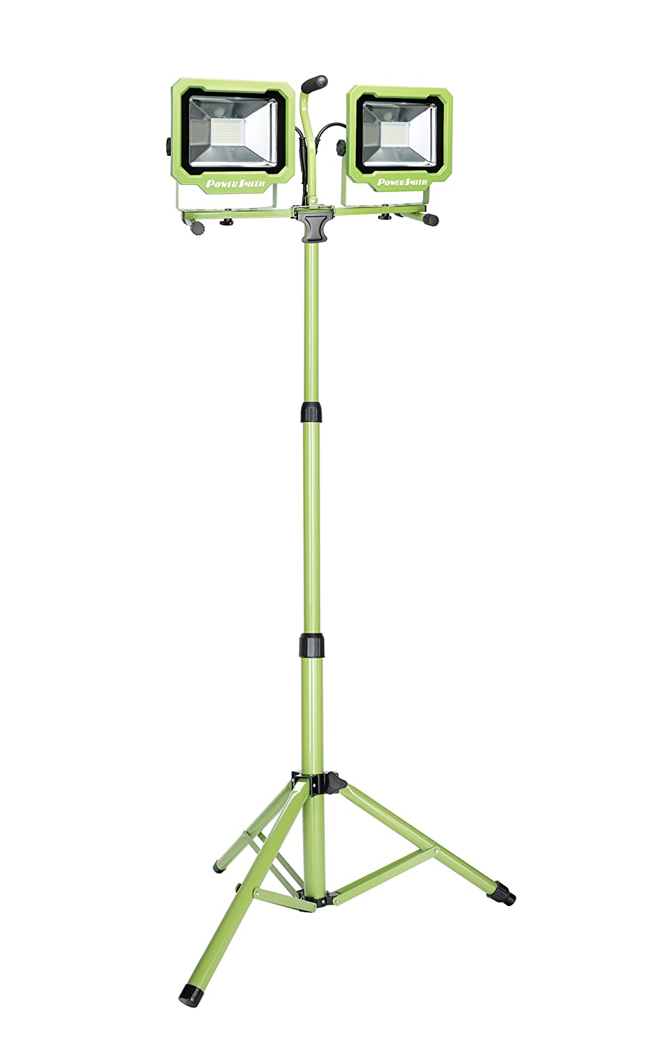 PowerSmith PWL2172TS 7500 Lumen 2 Head Led Work Light with Adjustable Releasable Metal Tripod Stand