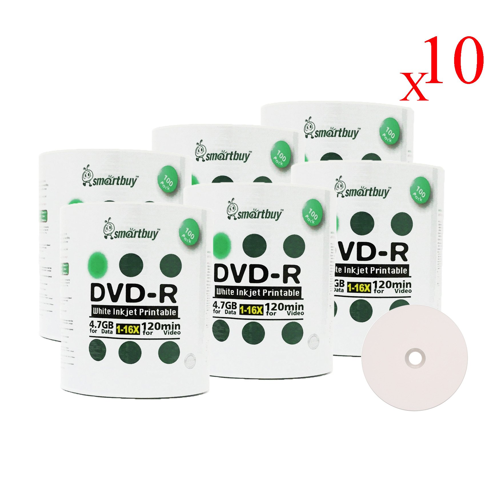 Smart Buy 6000 Pack DVD-R 4.7gb 16x White Printable Inkjet Blank Media Record Disc, 6000 Disc 6000pk