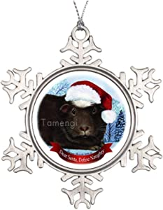 Snowflake Metal Ornaments Black and White Guinea Pig Hanging Christmas Tree Decoration for Christmas Tree Xmas Tree Accessories