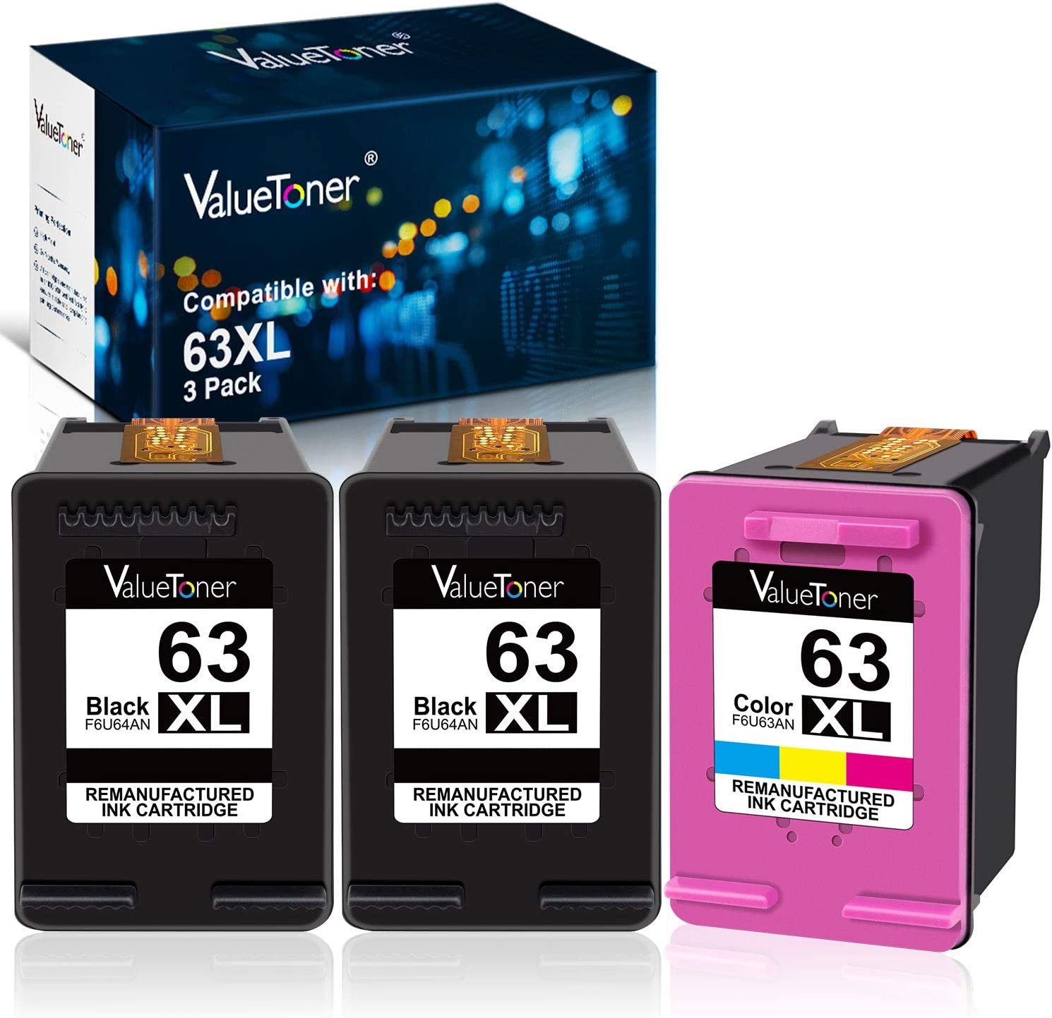 3 PK New Chip 63XL #63 XL Ink Cartridge for HP OfficeJet 5255 5258 4654 4655