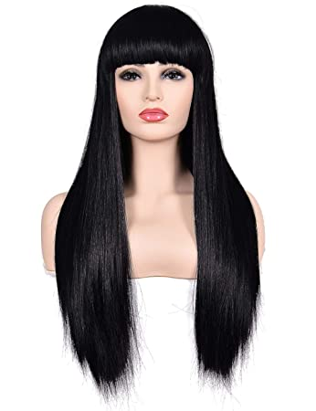 Morvally Women s 26 quot  Long Straight Black Synthetic Resistant Hair Wigs  with Bangs Natural Looking Wig 25ef3abbf