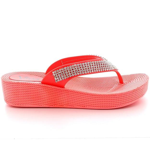 Damen Strand Ferien Thong Sandalen Gelee Keilabsatz Diamante Flip Flops - Schwarz - UK7/EU40 - PN0001 4f03q