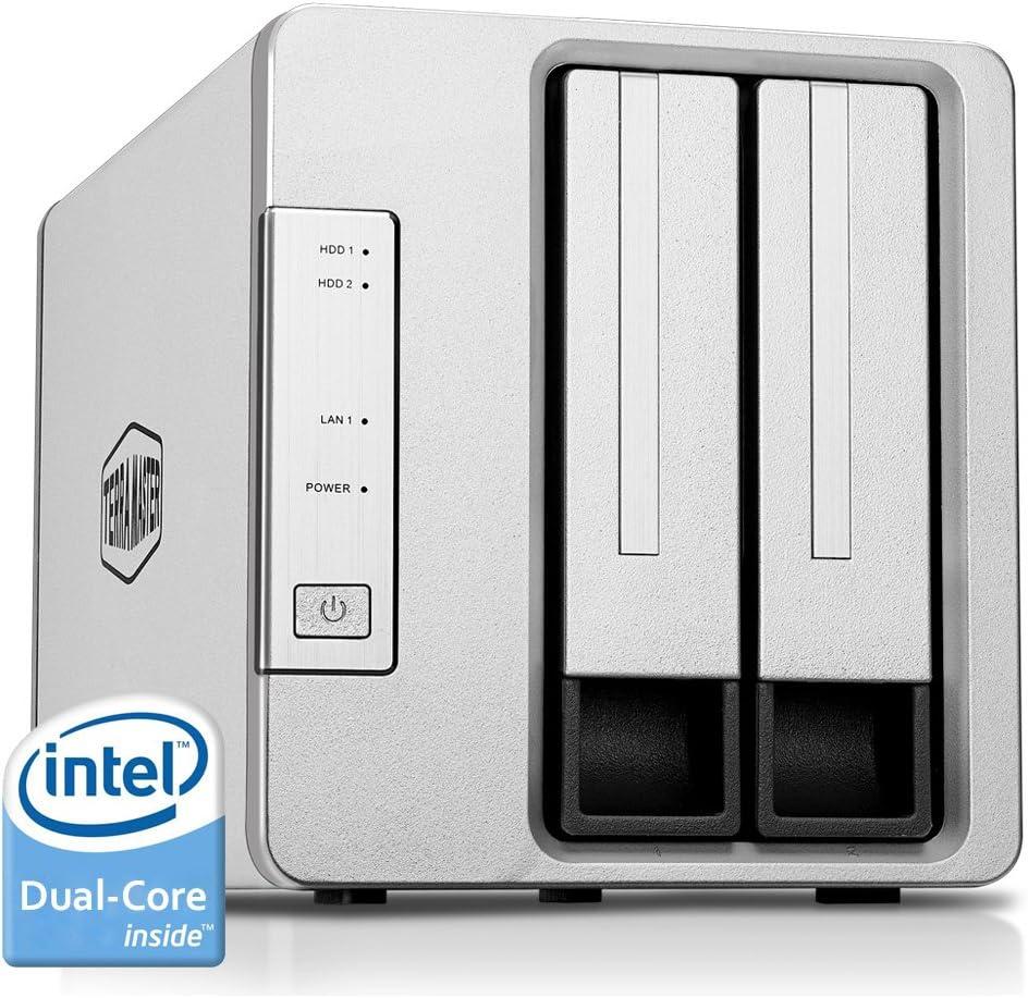 TALLA 2 Bahías Dual Core. TerraMaster F2-221 Caja de Servidor NAS 2 bahías Intel Dual Core 2.0GHz 2GB RAM Plex Media Server Almacenamiento en Red(Sin Discos)
