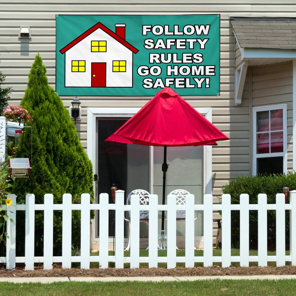 Vinyl Banner Sign Follow Safety Rules Green White Marketing Advertising Aqua-Blue 8 Grommets 44inx110in One Banner Multiple Sizes Available