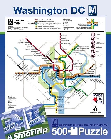 Waington Dc Subway Map.New York Puzzle Company Dc Metro Dc Metro 500 Piece Jigsaw Puzzle