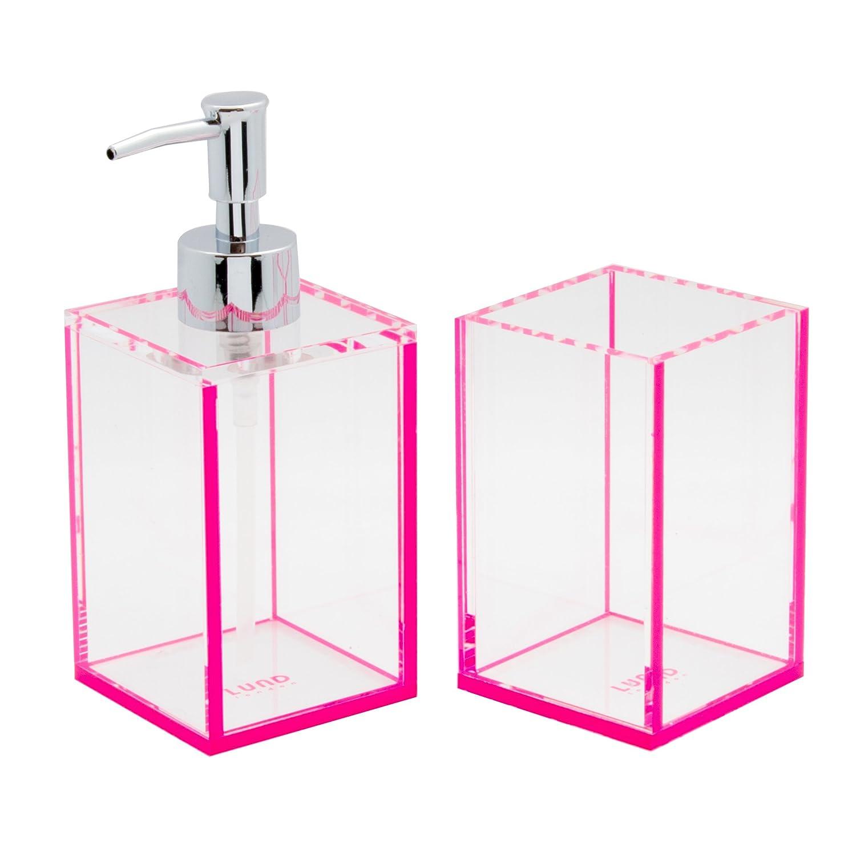 Transparente Acrílico jabón o loción bomba y cepillo de dientes titular Set con ribete de color rosa: Amazon.es: Hogar
