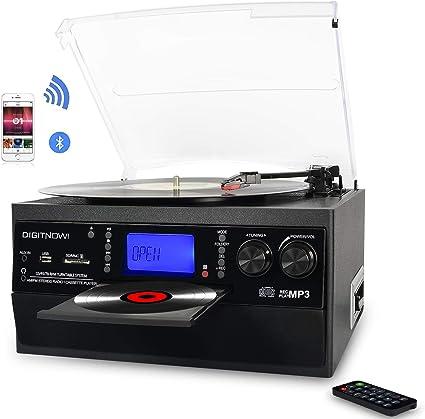 Blanco + Azul Entrada USB Entrada de Audio Dab Reproductor de CD port/átil Boombox Conector para Auriculares Reproducci/ón de MP3 Radio FM Sistema est/éreo Bluetooth