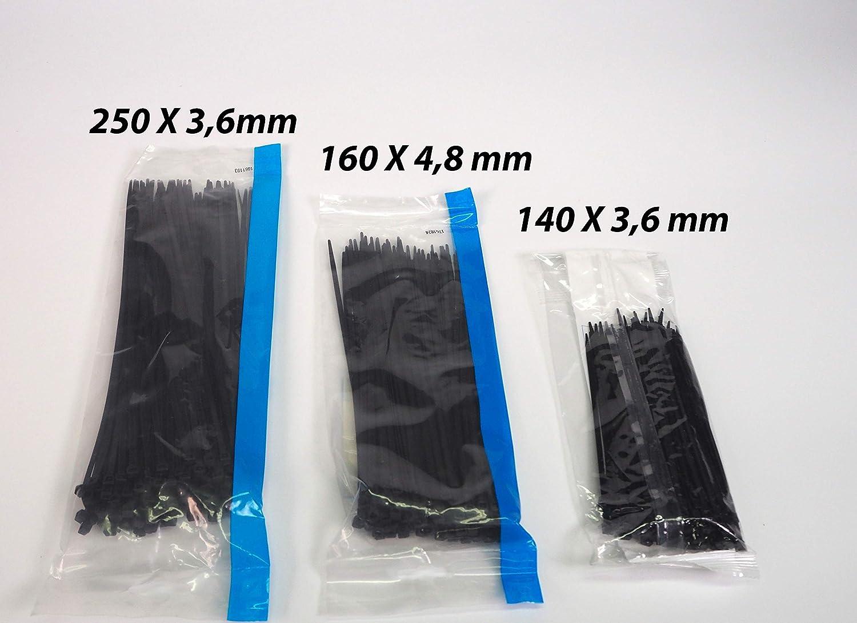 3X100 160X4,8 250X3,6mm, Sanfor 76015 Conjunto Bolsa Bridas Nylon Color Negro 140X3,6