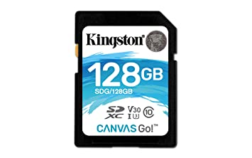 Kingston SDG/128GB - Tarjeta SD Canvas Go! 128 GB, Ideal para DSLR, Drones y Otras filmadoras compatibles con Tarjetas SD
