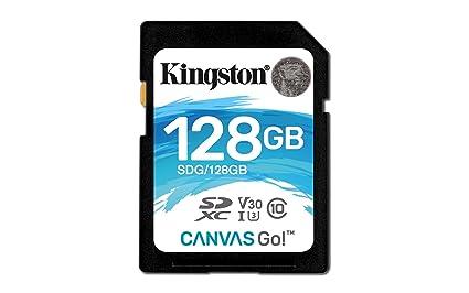 Kingston SDG/128GB - Tarjeta SD Canvas Go! 128 GB, Ideal para DSLR, Drones y Otras filmadoras compatibles con Tarjetas SD