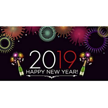 bannerbuzz happy new year 2019 champagne with fireworks theme banner 11 oz vinyl pvc flex for