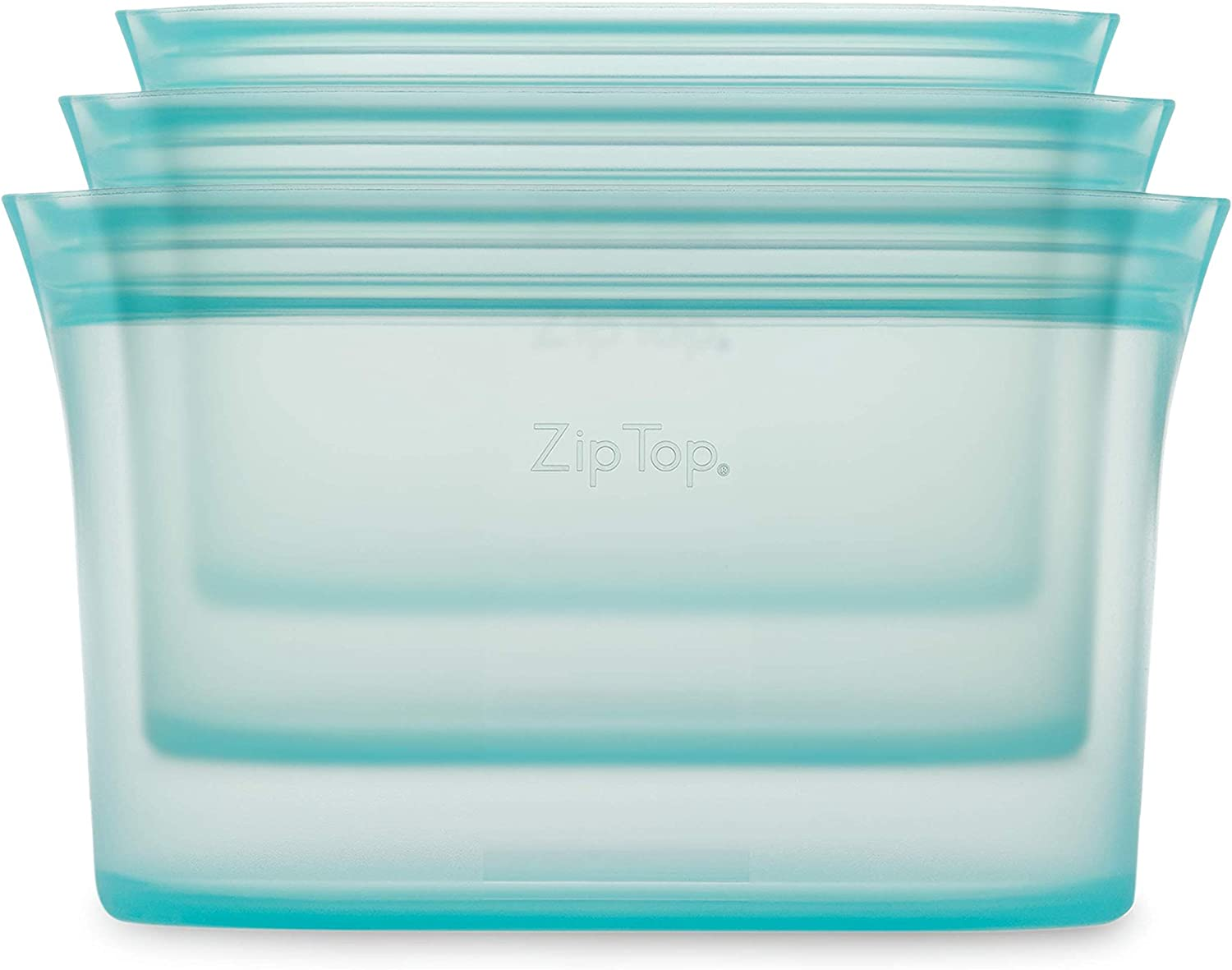 Zip Top Reusable 100% Silicone Food Storage Bags and Containers - 3 Dish Set - Teal
