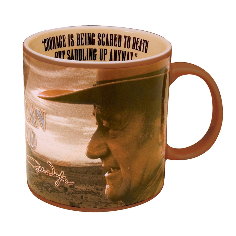 Vandor 15063 John Wayne 20 oz Ceramic ''Courage'' Mug, Brown